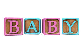 Baby Blocks  on White. Blue and Pink Baby Blocks  on white, spelling out the word Baby - 3D Illustration Royalty Free Stock Image