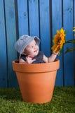 Baby in bloempot stock foto