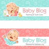 Baby blog banner. Teething. tooth care. Baby cry. Vector illustration with Seamless background. Design template royalty free illustration