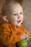 Baby blond boy with blue eyes Stock Images