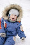 Baby blond boy winter outdoors Royalty Free Stock Photo