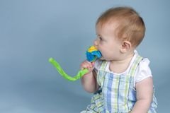 Baby on Blue. A cute baby chewing on a toy flower Stock Image