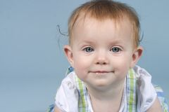 Baby on Blue Stock Photography
