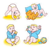 Baby blue. Beautiful baby playing with toys, eats from a bottle and sleeps Stock Photography