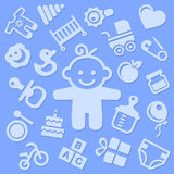 Baby Blue Background with Boy. Vector Royalty Free Stock Images