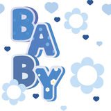 Baby blue banner with flowers and hearts Stock Image
