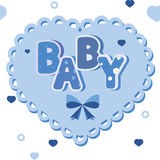 Baby blue banner with hearts Royalty Free Stock Photos