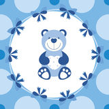 Baby blue banner with teddy bear Royalty Free Stock Photos