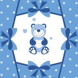 Baby blue banner with teddy bear Royalty Free Stock Photography