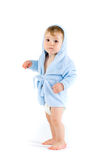 Baby in blue bathrobe Stock Photo