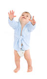 Baby in blue bathrobe Stock Photography