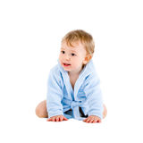 Baby in blue bathrobe Royalty Free Stock Photos
