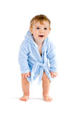 Baby in blue bathrobe Stock Images