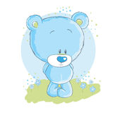 Baby blue bear. Announcement card Stock Photos