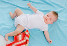 Baby on blue blanket Royalty Free Stock Photo
