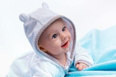 Baby on a blue blanket Royalty Free Stock Images