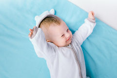 Baby on blue blanket Royalty Free Stock Images