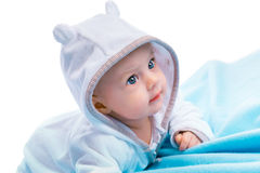 Baby on blue blanket Stock Photos