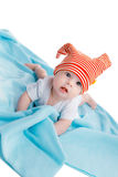 Baby on blue blanket Royalty Free Stock Photos