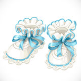 Baby blue booties Royalty Free Stock Photos