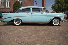 Baby blue car. View of a light blue Chevrolet bel air 1956 at the annual oldtimer show in Medemblik Royalty Free Stock Images