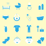 Baby blue color icons set Stock Photo