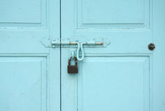 Baby blue color timber door Stock Photography