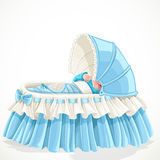 Baby in blue cradle Stock Photography