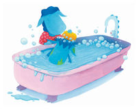 Baby blue dragon is having a bath Royalty Free Stock Image