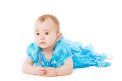 Baby in blue dress Stock Photography