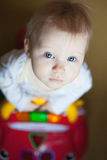 Baby blue eyes, driving a toy car Stock Photos