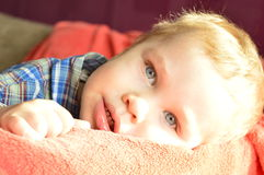 Baby with blue eyes Stock Photos