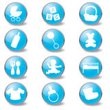 Baby blue icons Royalty Free Stock Images