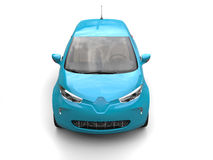 Baby blue modern electric car - top down front shot Royalty Free Stock Photo