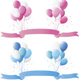 Baby blue and pink balloons. With matching floating banner on white Stock Image