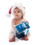 Baby with blue present box Royalty Free Stock Images