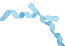 Baby blue ribbon and bow isolated Royalty Free Stock Images