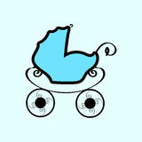 Baby blue vintage pram Stock Image
