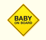 Baby on board. ! Yellow warning sign. Vector Illustration – easy to resize and change colors Stock Photos