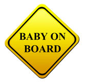 Baby on board. Yellow signal of baby on board. isolated image Royalty Free Stock Photography