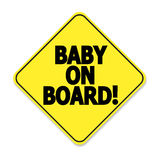 Baby on board. Yellow and black sticker for car Stock Image