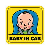 Baby in car seat. Back window sticker or sign Stock Photos