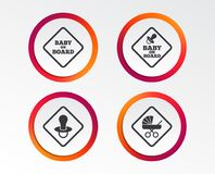 Baby on board icons. Infant caution signs. Child buggy carriage symbol. Infographic design buttons. Circle templates. Vector Stock Images