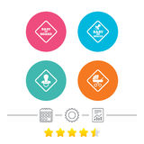 Baby on board icons. Infant caution signs. Child buggy carriage symbol. Calendar, cogwheel and report linear icons. Star vote ranking. Vector Royalty Free Stock Photo