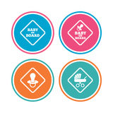 Baby on board icons. Infant caution signs. Child buggy carriage symbol. Colored circle buttons. Vector Royalty Free Stock Image