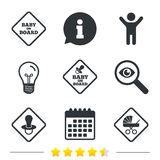 Baby on board icons. Infant caution signs. Child buggy carriage symbol. Information, light bulb and calendar icons. Investigate magnifier. Vector Royalty Free Stock Photography