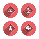 Baby on board icons. Infant caution signs. Child buggy carriage symbol. Pink circles flat buttons with shadow. Vector Royalty Free Stock Photo