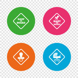 Baby on board icons. Infant caution signs. Child buggy carriage symbol. Round buttons on transparent background. Vector Stock Photo