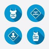 Baby on board icons. Infant caution signs Stock Photo