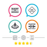 Baby on board icons. Infant caution signs. Stock Photography
